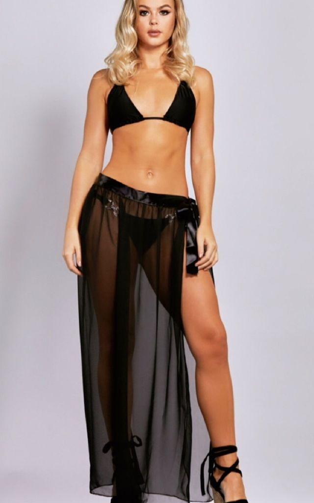 Zara Beach Wrap Maxi Skirt in black by Bikini Genie