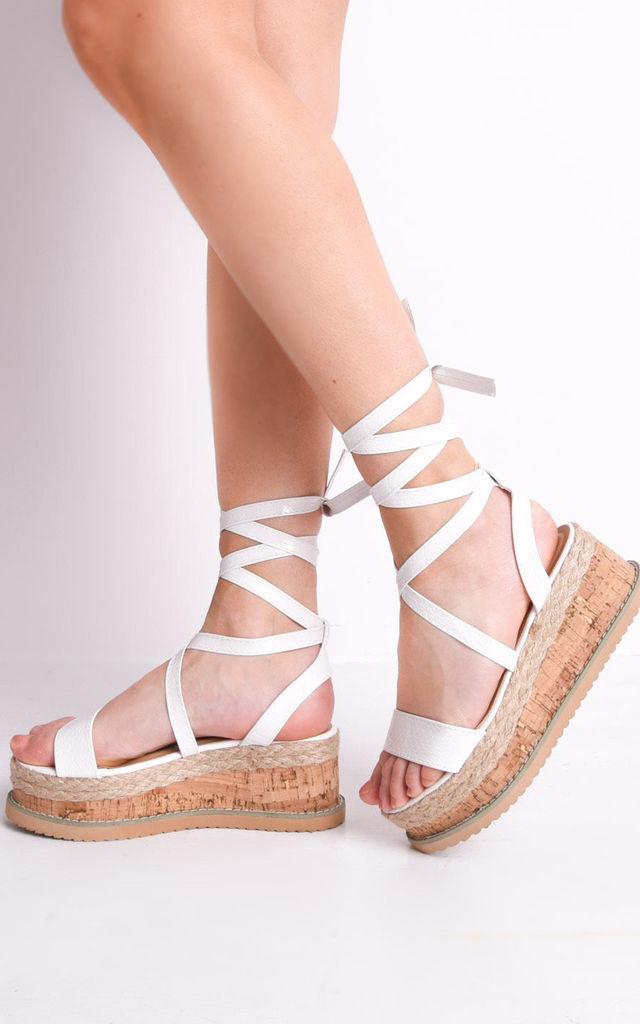 e4d1539e8167 Leather lace up espadrille sandals with cork wedge in white by LILY LULU  FASHION