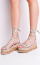 Leather lace up espadrille sandals with cork wedge in Beige Snake Print by LILY LULU FASHION