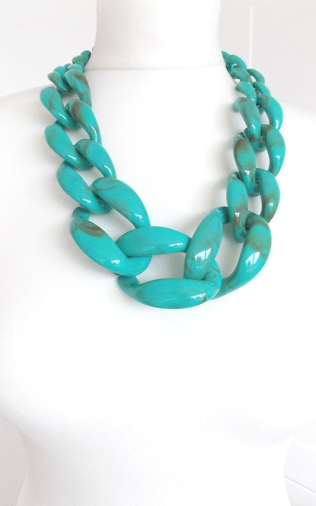 Chunky Acrylic Chain Statement Necklace in Turquoise by Olivia Divine Jewellery