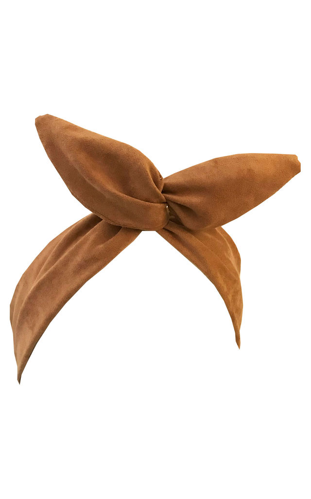 Tan faux suede wired headband by LULU IN THE SKY