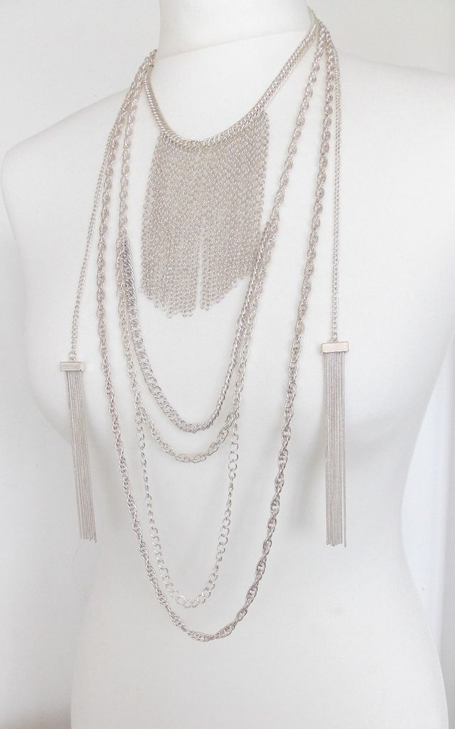 Statement Silver Necklace with Layered Chain and Tassels by Olivia Divine Jewellery