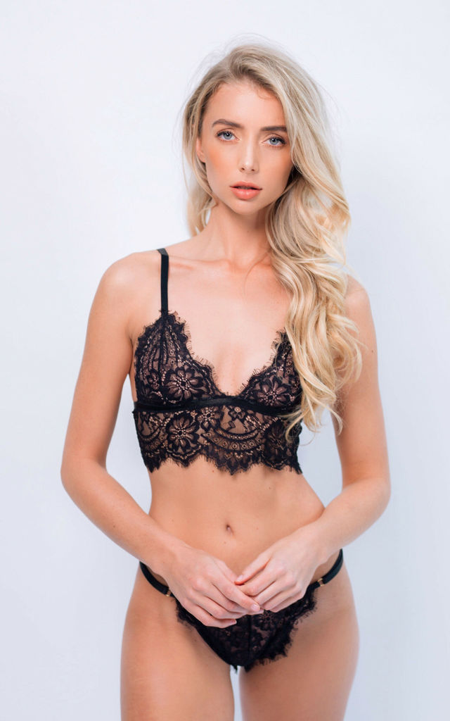 Alicia Lingerie Intimates Set in Black Lace by IVYSISTER
