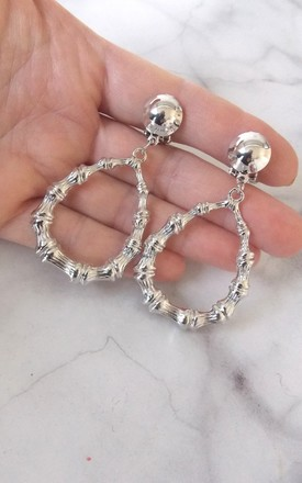 Silver Bamboo Drop Clip-On Earrings by Olivia Divine Jewellery