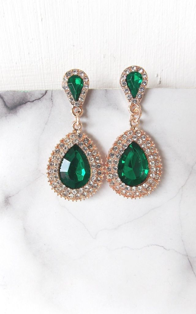 Statement Prom Teardrop Earrings in Emerald Green and Crystal by Olivia Divine Jewellery