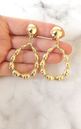 Gold Bamboo Style Clip-On Earrings by Olivia Divine Jewellery
