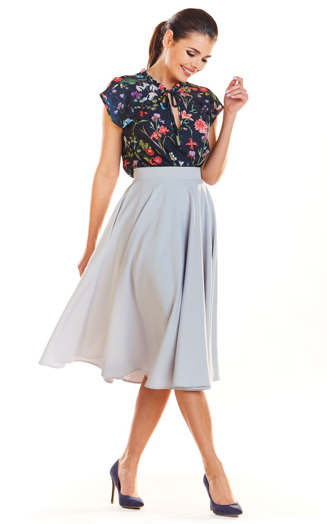 Flare Midi Skirt in Grey by AWAMA