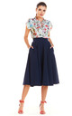 Flare Midi Skirt With Zipper in Navy Blue by AWAMA