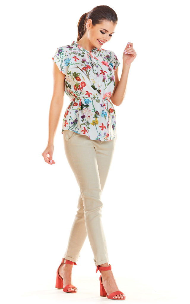 Flowers Pattern Short Sleeve Top Tied at Waist in Ecru by AWAMA