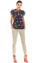 Flowers Pattern Short Sleeve Top Tied at Waist in Navy by AWAMA