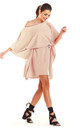 Fashionable Off Shoulder Mini Dress in Beige by AWAMA