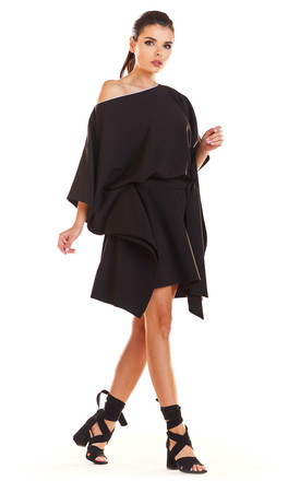 Fashionable Off Shoulder Mini Dress in Black by AWAMA