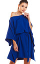 Fashionable Off Shoulder Mini Dress in Blue by AWAMA