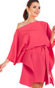 Off Shoulder Mini Dress with short sleeves in Fuchsia by AWAMA