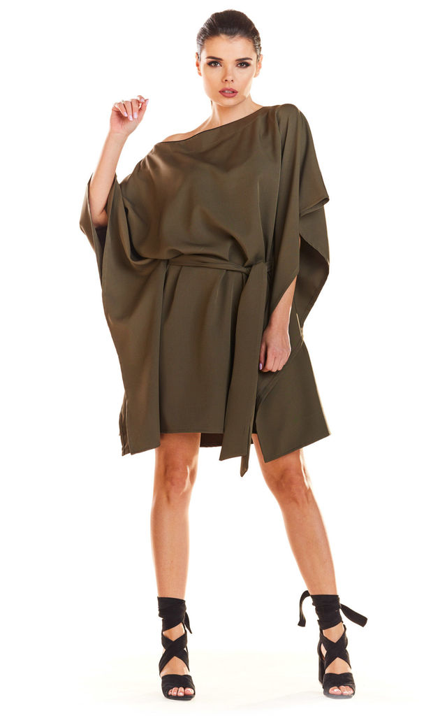 Fashionable Off Shoulder Mini Dress in Khaki by AWAMA