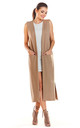 Loose Maxi Vest with Pockets in Beige by AWAMA