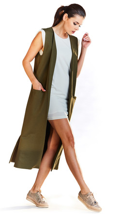 Loose Maxi Vest with Pockets in Khaki by AWAMA