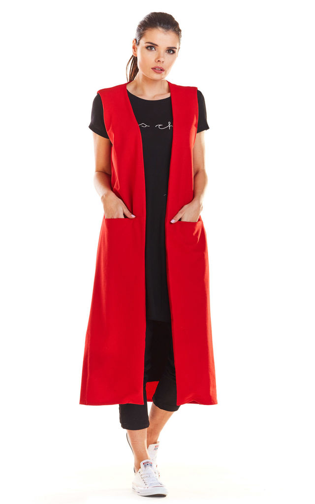 Loose Maxi Vest with Pockets in Red by AWAMA