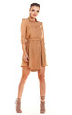 Loose Airy Mini Dress With Buttons and Collar in Beige by AWAMA