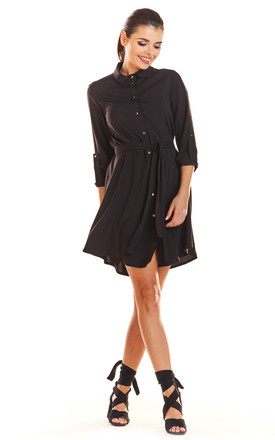 Loose Airy Mini Dress With Buttons and Collar in Black by AWAMA