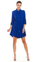 Loose Airy Mini Dress With Buttons and Collar in Blue by AWAMA