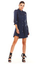 Loose Airy Mini Dress With Buttons and Collar in Navy by AWAMA