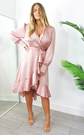 Ivy Satin Long Sleeve Wrap Dress In Pink by Your Wardrobe Product photo