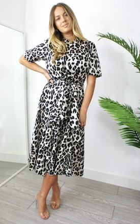 Chloe Short Sleeve Midi Dress In Leopard Print by Your Wardrobe Product photo