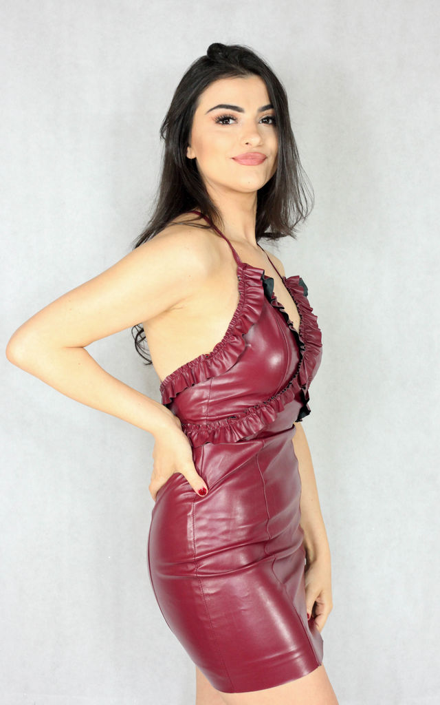 PVC Mini Dress with Criss Cross Back in Red by SORT.co