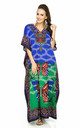 Full Length Maxi Kaftan Kimono Dress in Butterfly Print - Blue by Looking Glam