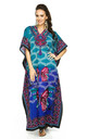 Maxi Kaftan Dress in Teal Butterfly Print by Looking Glam