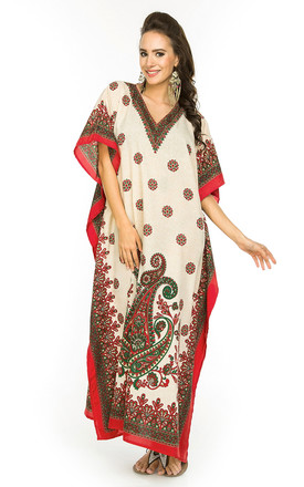 Full Length Maxi Kaftan Kimono in Paisley Print - Red by Looking Glam