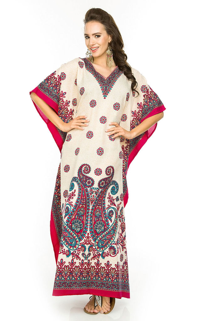 Full Length Maxi Kaftan Kimono in Paisley Print - Pink by Looking Glam