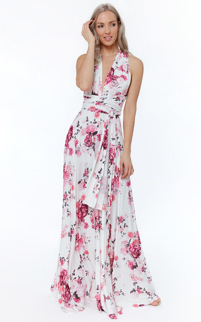 57ba55ae7f Multiway Occasion Maxi Dress In White/Pink Floral Print | Goddiva ...