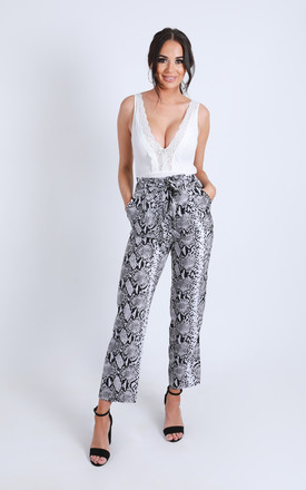 'Lola' High Waisted Tie Up Trousers in Grey Snake Print by Ella's Boutique