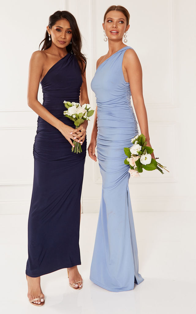 Angelina navy one shoulder bridesmaid dress by Revie London