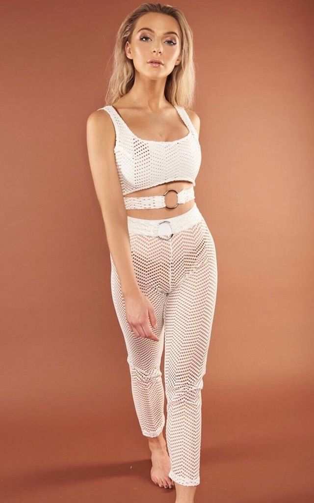 Beach Cover Up Netted Top and Trouser Set in White by Sculpture Swimwear