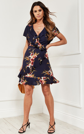 Mini Frill Detail Wrap Dress In Navy Floral by Bella and Blue Product photo