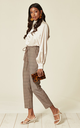 Trousers with Elasticated Waistband in Red Check by Lucy Sparks