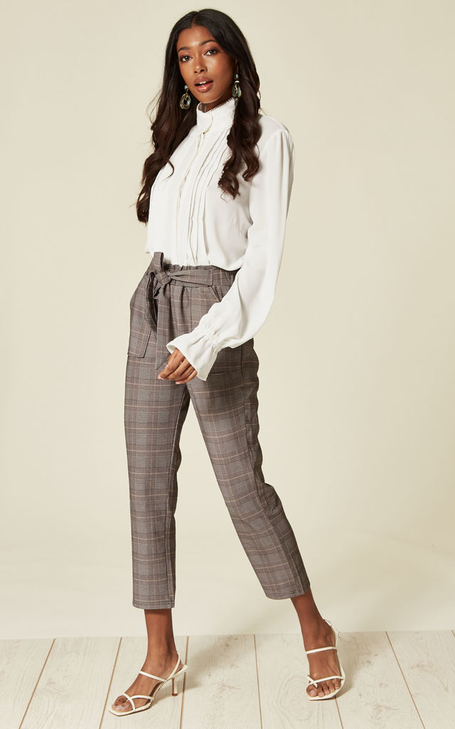 Trousers with Waist Tie in Orange Check by Lucy Sparks