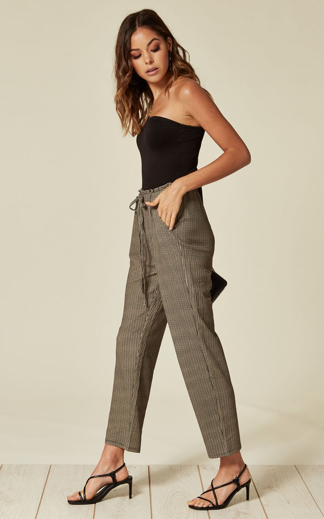 Trousers With Elasticated Waistband in Blue Check by Lucy Sparks