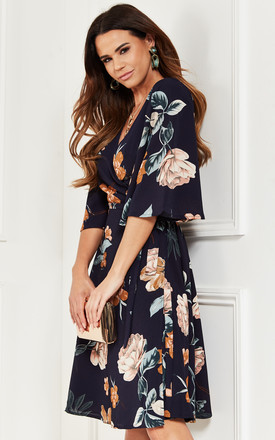 Kimono Sleeve Wrap Dress in Navy Floral by Bella and Blue
