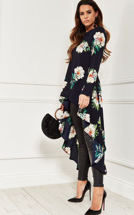 Extreme Dip Hem Top in Navy Floral by Bella and Blue