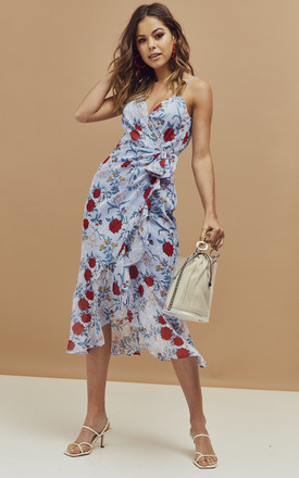 Elle Strappy Midi Wrap Dress in blue floral by Bardot