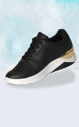Black and Gold trainers with stripe detail by Miss Red