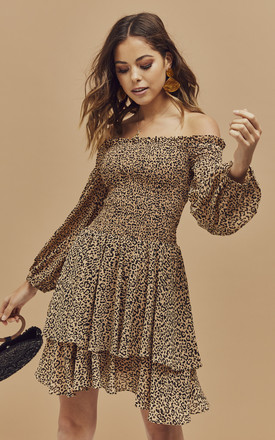 Lucienna Off Shoulder Layered Mini Dress In Leopard by Bardot Product photo