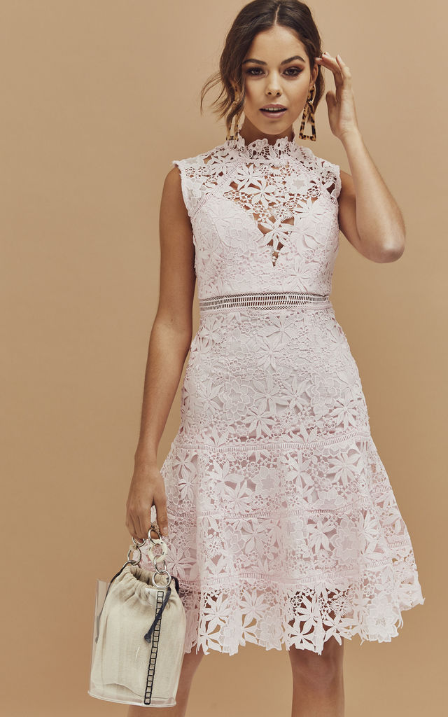 Elise High Neck a-line Dress in Blush Pink Lace by Bardot
