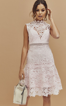 Elise High Neck A Line Dress In Blush Pink Lace by Bardot Product photo