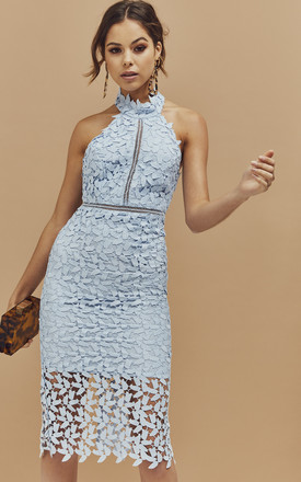 Gemma Halter Lace Midi Dress In Light Blue by Bardot Product photo