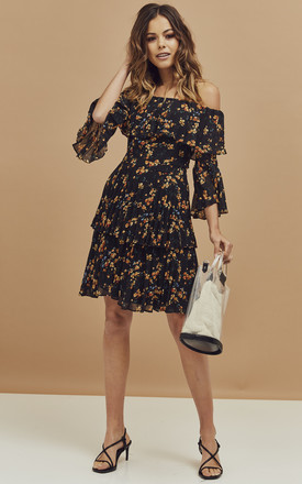 Bardot Layer Detail Mini Dress In Ditsy Black Floral Print by Bardot Product photo